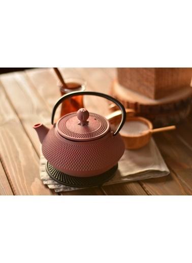 Taşev Linden - Sümbül 800 ml Toz Pembe Döküm Çaydanlık-Bambum